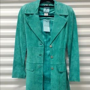 Super cute teal suede trench coat by Marciano!